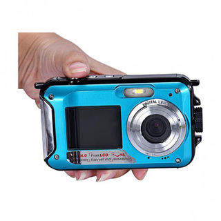 24MP16x Zoom Waterproof Digital Video Camera With Front And Back LCD Screen For Selfie - Blue