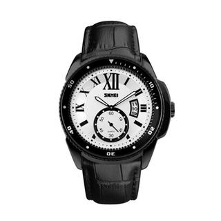 SKMEI Analog Round Leather Quartz Casual Watch - Black/White
