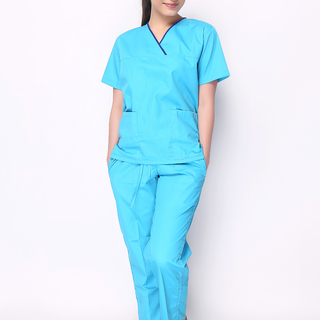 Overlap V-Neck Scrub Suit (Aqua Blue with Royal Blue Piping)