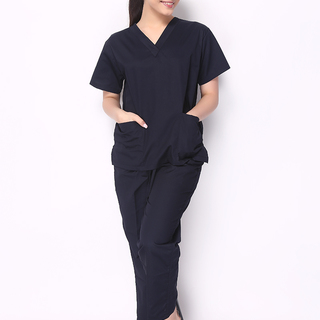 FLAT V-NECK SCRUB SUIT (NAVY BLUE V-NECK TOP WITH NAVY BLUE PANTS )