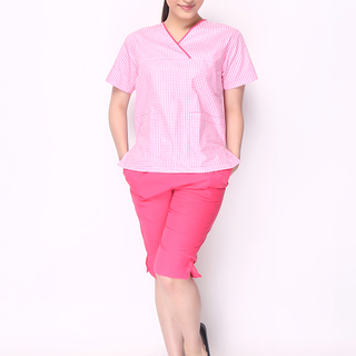 CHECKERED OVERLAP V-NECK TOP W/KNEE PANTS (PINK, CHECKERED TOP WITH DARK PINK PIPING AND KNEE PANTS)