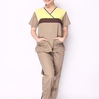 CROSS BREAST SCRUB SUIT (MOCHA WITH YELLOW AND DARK BROWN COMBINATION TOP AND MOCHA PANTS)
