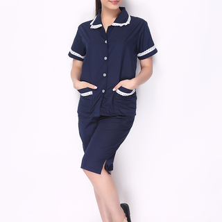 CULOTTES AND BABY COLLAR BLOUSE WITH LACE  (NAVY BLUE WITH WHITE LACE BLOUSE AND NAVY BLUE CULOTTES)