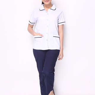 MAID'S UNIFORM WITH WHITE BLOUSE IN BABY COLLAR WITH NAVY BLUE PIPING AND NAVY BLUE PANTS