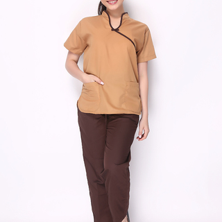 CHINESE COLLAR SCRUB SUIT (MOCHA BROWN TOP WITH DARK BROWN PIPING AND DARK BROWN PANTS)