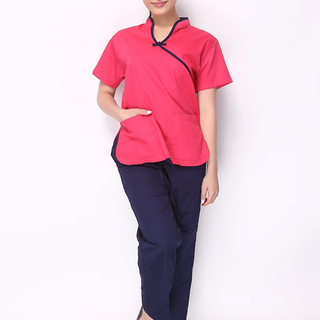 CHINESE COLLAR SCRUB SUIT (FUSCHIA PINK TOP WITH NAVY BLUE PIPING AND NAVY BLUE PANTS)