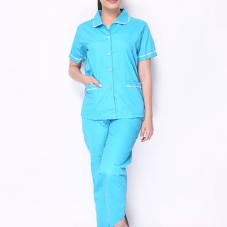MAID'S UNIFORM WITH AQUA BLUE BLOUSE IN BABY COLLAR WITH WHITE PIPING AND AQUA BLUE PANTS