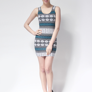 FOREVER 21 BODYCON SLEEVELESS DRESS BLUE/WHITE (AZTEC) (61322)