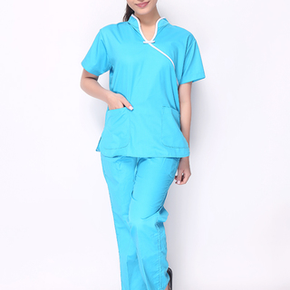 CHINESE COLLAR SCRUB SUIT (AQUA BLUE TOP WITH WHITE PIPING AND AQUA BLUE PANTS)