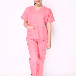 FLAT V-NECK SCRUB SUIT (SALMON PINK TOP AND PANTS)