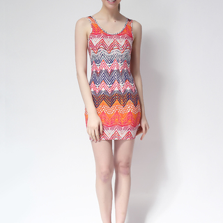 FOREVER 21 BODYCON SLEEVELESS DRESS PINK/ORANGE (61315)