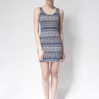 FOREVER 21 BODYCON SLEEVELESS DRESS BLUE/WHITE (61334)