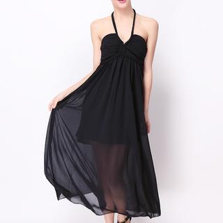 ANGELFISH BLACK MAXI DRESS-CHIFFON (0962)