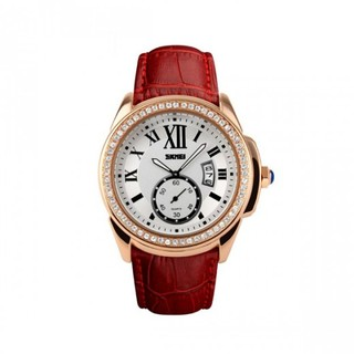 Casual Leather Analog Quartz Watch - Red