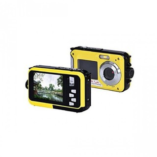 24MP16x Zoom Waterproof Digital Video Camera With Front And Back LCD Screen For Selfie - Yellow