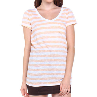 ABERCROMBIE & FITCH LDS TEE V NECK WHITE & ORANGE (44473)