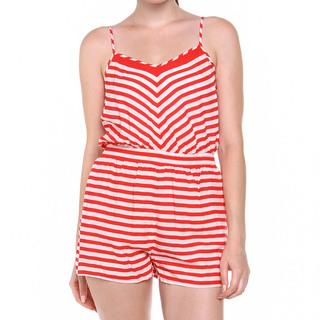 I LOVE H81 LDS SPAGHETTI ROMPER RED & WHITE (42643)