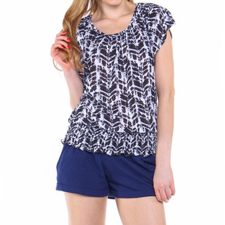 NO BOUNDARIES LDS BLOUSE BLACK & WHITE (43019)