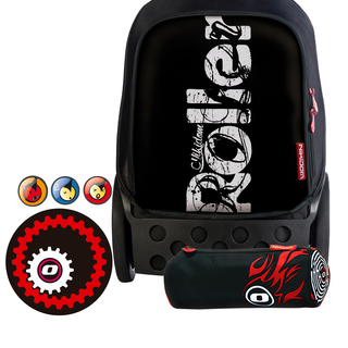 Nikidom Roller RL-9013 Large Bag (Blackout) with Set of Button Pin, Wheel Sticker and Pencil Case (RL9013 , BP9109 , WS9208 & PC9113)