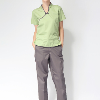 CHINESE COLLAR SCRUB SUIT (GREEN TOP WITH GRAY PIPING AND  GRAY PANTS)