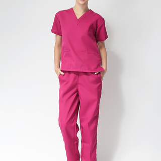 FLAT V-NECK SCRUB SUIT (BURGUNDY V-NECK TOP WITH BURGUNDY PANTS )