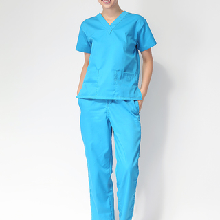 FLAT V-NECK SCRUB SUIT (BLUE V-NECK TOP WITH BLUE PANTS )