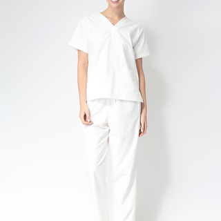 FLAT V-NECK SCRUB SUIT (WHITE V-NECK TOP WITH WHITE PANTS)