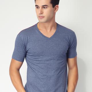 Newyork Army V-neck Men's Plain Shirt with Shoulder Lining (Dark Blue)
