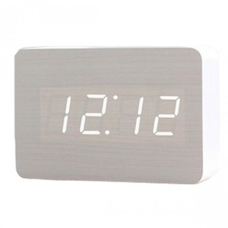 Digital Rectangular Wooden Alarm Clock White Led Light - White