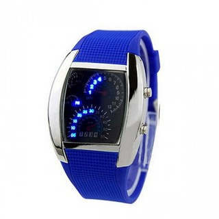 Casual Water Resistant LED Metal Speedometer Watch - Blue