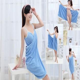 Wearable Spa Bath Towel with wrap - Blue
