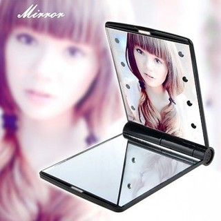 Pocket Makeup Mirror With LED Light - Black