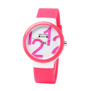 Newyork Army Pink and White Figures Silicon Watch