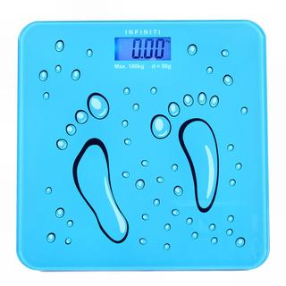 Infiniti Digital Tempered Glass Slim Bathroom Scale DBS-007 Blue Footprints