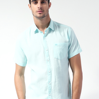 TOMTAILOR MENS WOVEN SHORT SLEEVE WITH COLLAR LT.BLUE (70175)