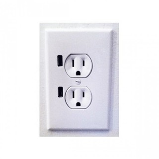 220v Dual USB Port Wall Charger Adaptor Socket - White