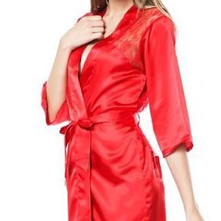 Silk Lingerie Babydoll Bath Robe Nighties Set - Red