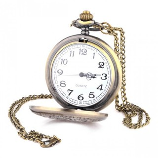 Vintage Pocket Watch with Necklace - Bronze