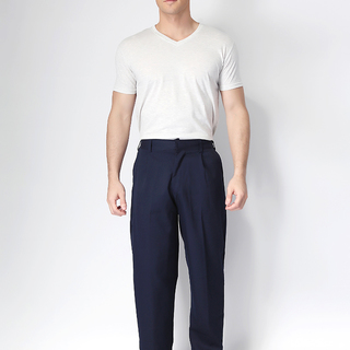 MEN'S SLACKS WITH FRONT ZIPPER AND GARTERIZED BACK