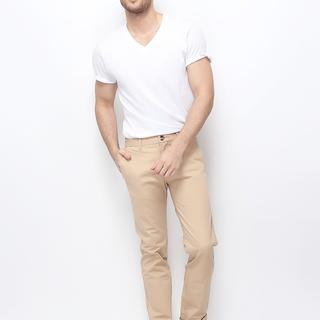 MEN'S TWILL LOW RISE SLIM TAPERED PANTS (CUBAN SAND) - 01116617-12