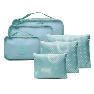 6 in 1 Packing Bags (Polka Green)