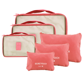 6 in 1 Packing Bags (Salmon/Neon)