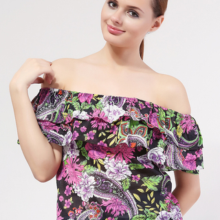 MILKY WAY OFF SHOULDER VIOLET FLORAL (FREESIZE)