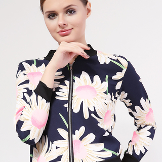 MILKY WAY CASUAL FRONT ZIPPER JACKET BLUE WITH LARGE FLORAL PRINT (FREESIZE)