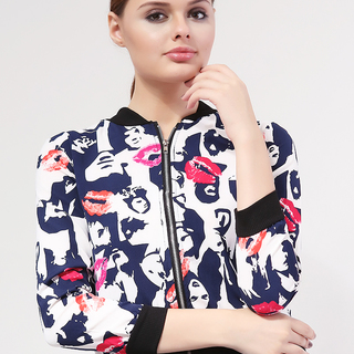 MILKY WAY CASUAL FRONT ZIPPER JACKET WHITE WITH BLUE LADY PRINT (FREESIZE)