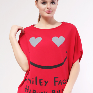 MILKY WAY SHORT SLEEVE TOP SMILEY FACE FREESIZE (RED)