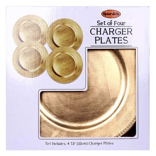 "SET 4 CHARGER PLATE ROUND BEADED GOLD 13"" (3424601)"