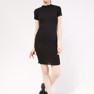 Mock neck shortsleeve Knit dress from Topmanila Clothing (Black