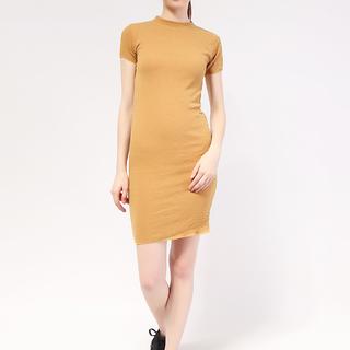 Mock neck shortsleeve Knit dress from Topmanila Clothing (Mustard