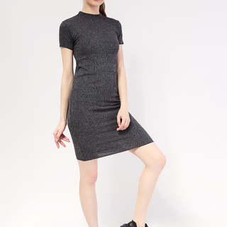 Mock neck shortsleeve Knit dress from Topmanila Clothing (Dark Gray)